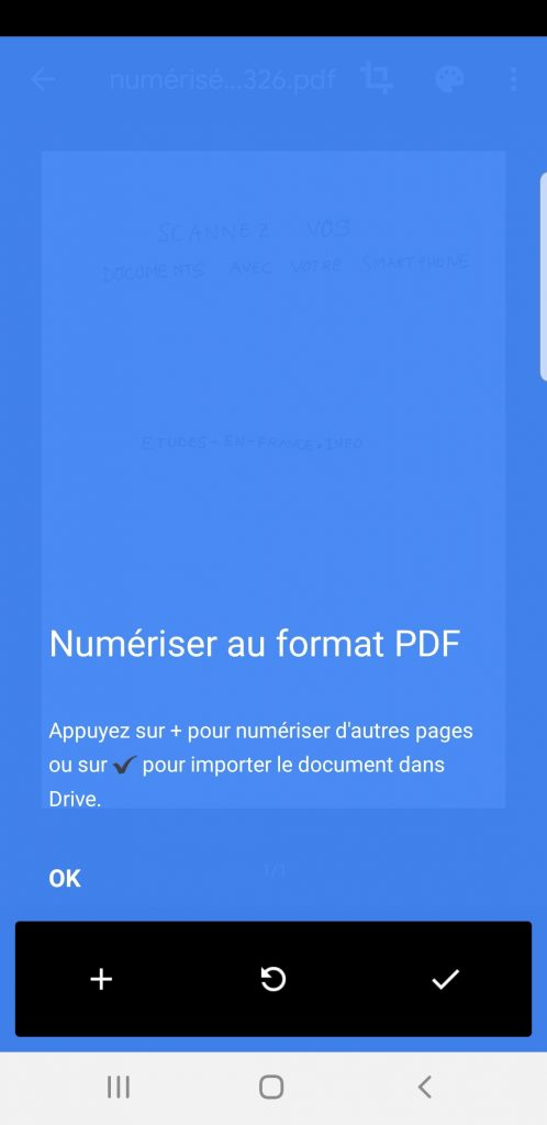 enregistrement du scan